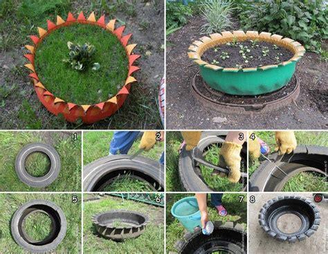 tire turned  plant pot