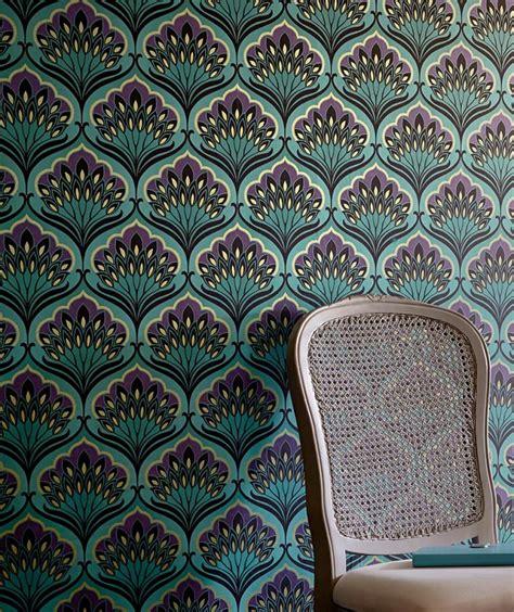 Tapisserie Or by Papier Peint Perdula Bleu Turquoise Violet Fonc 233 Beige