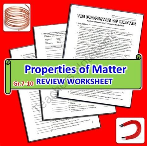 Matter Review Worksheet by The Properties Of Matter Review Worksheet From Tangstar