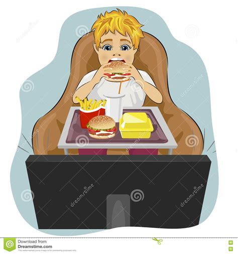 Sits In Chair To Eat by Obese Boy Sits In Chair Hamburger And