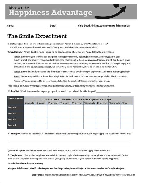 Free Printable Psychology Worksheets by This Is Goodthink S Smile Experiment Worksheet That Turns
