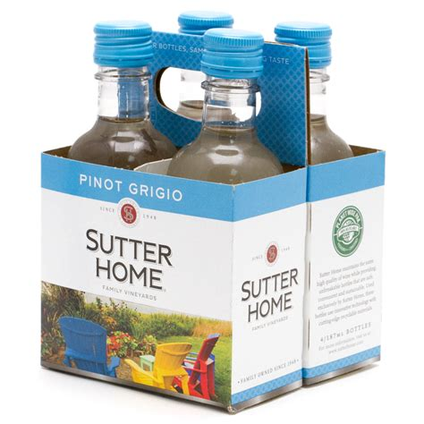 sutter home pinot grigio 4 pack 187ml bottles wine