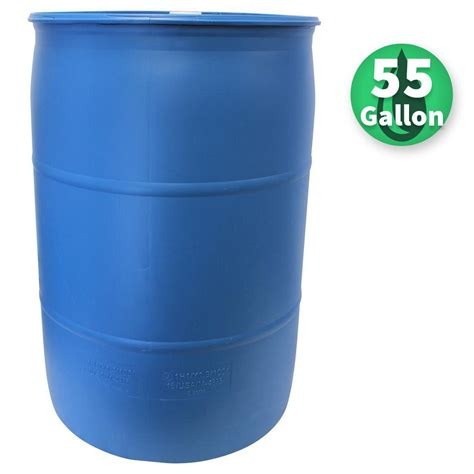 55 gal blue industrial plastic drum pth0933 the home depot