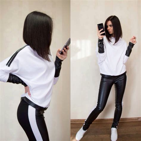 Sportwear Set 2 pieces sport suit brand tracksuits black white patchwork running set femme