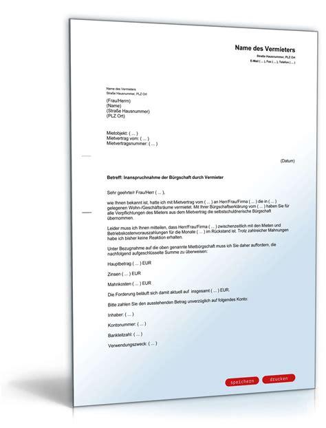 Musterbriefe Kostenlos Inanspruchnahme B 252 Rgschaft Vorlage Zum