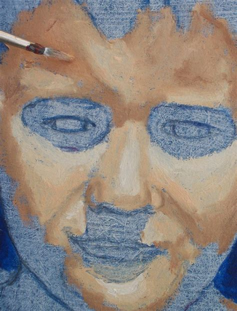 portrait painting of a boy part 1 blue acrylic painting to support skin tones in