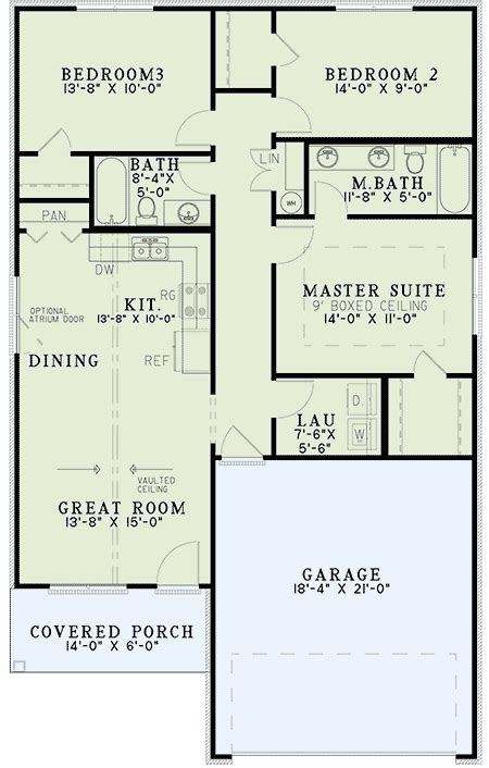 starter home plan with vaulted ceilings 60634nd