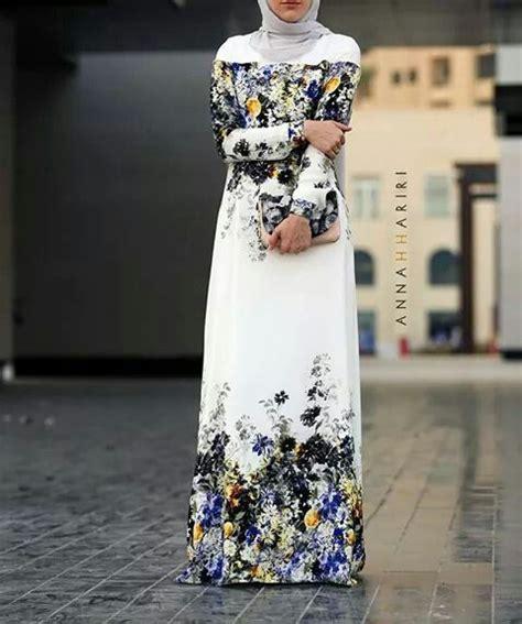 Jersey Motif Bunga Putih 12 contoh model baju muslimah terbaru hari raya idul fitri
