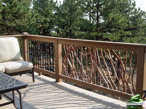 decking banister deck railing with composite lumber and branch and metal balusters