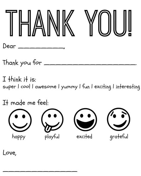 printable color in thank you cards free printable kids thank you cards to color thank you