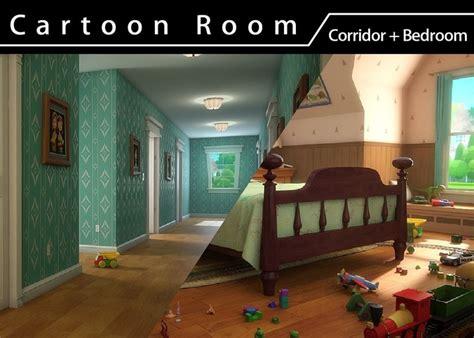cartoon room corridor cgtrader