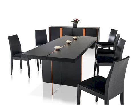 Black Contemporary Dining Table Contemporary Black Oak Dining Set W Floating Table 44d167t Set