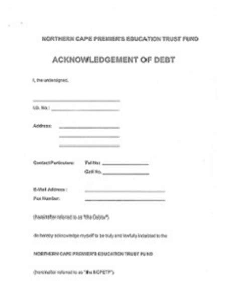 Acknowledgement Letter Of Debt Welcome To Ncpetf