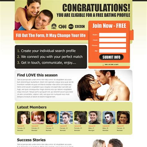 dating site template free dating landing page design templates for your