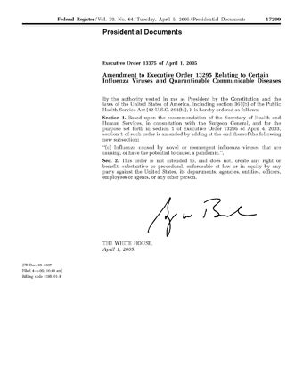 public health service act section 361 executive order 13375 public intelligence