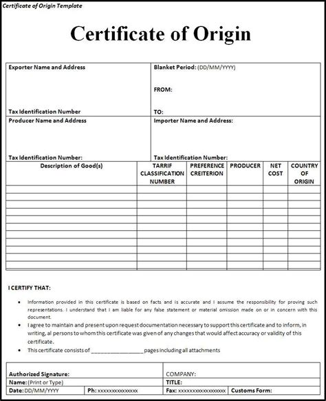 certificate of origin form template certificate of origin form template printable forms