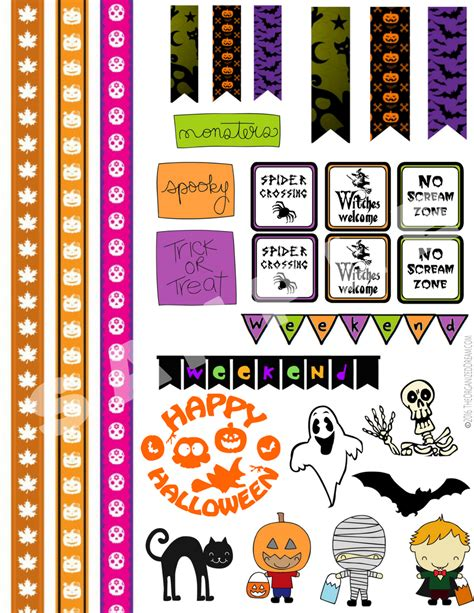 printable stickers for halloween halloween planner sticker printables the organized dream