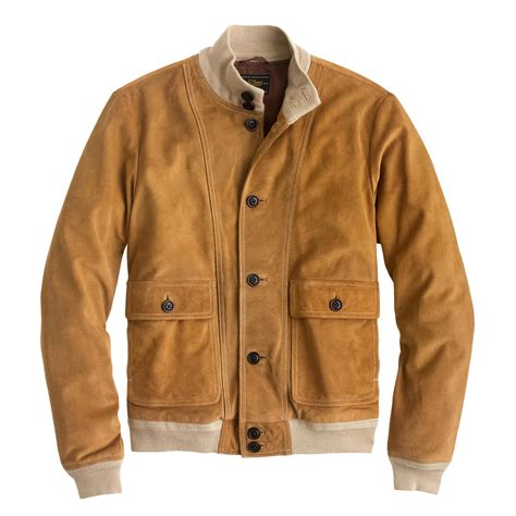 Nuts Bomber Jacket j crew buttoned suede bomber jacket in brown for lyst