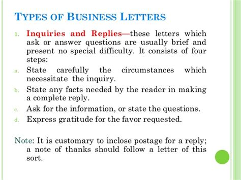 Types Of Business Letter Of Reply business letters