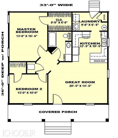 two bedroom cottage plans نقشه ویلایی مسکونی
