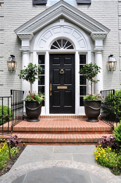 colonial front doors entry transitional with white window