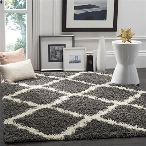 Area Rugs Dallas Tx Safavieh Dallas Shag Collection Sgd257a Grey And Ivory Area Rug 4 By 6 4 X 6