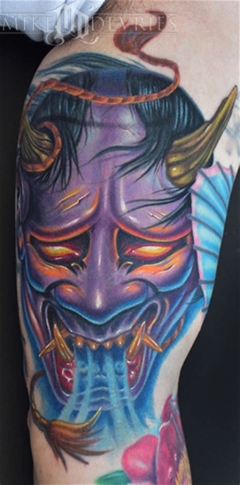 hannya mask tattoo gallery hannya mask tattoo by mike devries tattoonow