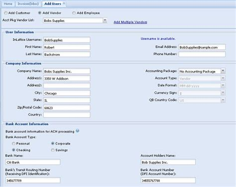 bank account information www inlattice