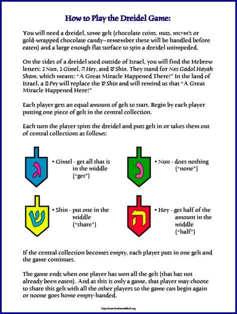 printable directions for dreidel game dreidel game rules for kids holiday pinterest words