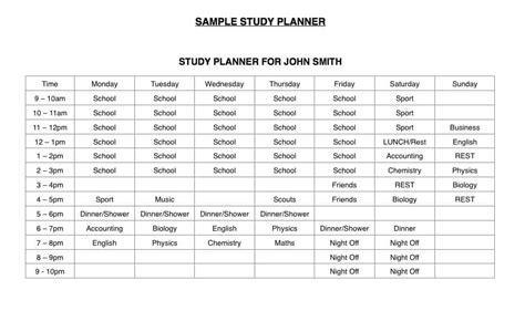 Study Timetable Template Download Now Learnmate Com Au Study Planner Template