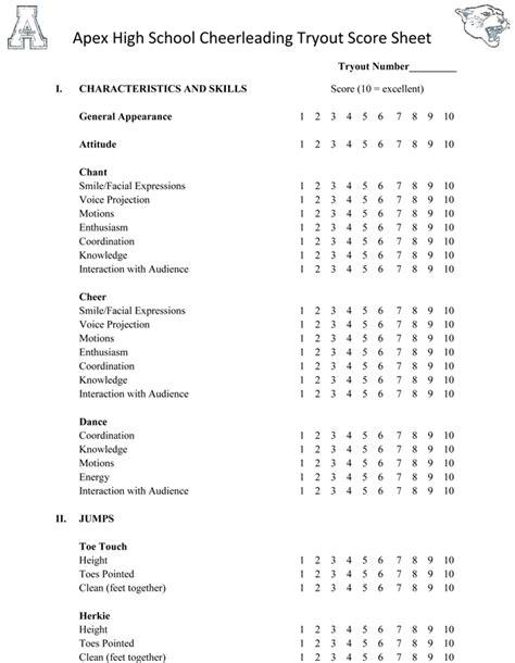cheerleading tryout score sheet cheer leading tryout score sheets in pdf