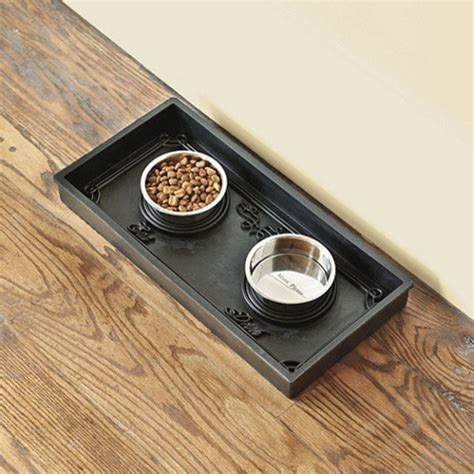 Ballard Designs Chandeliers Rubber Pet Food Tray With Bowls Contemporary Serving