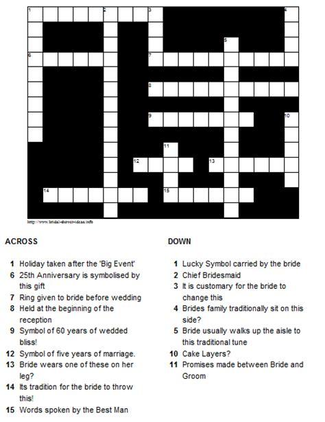 printable bridal shower crossword puzzle bridal shower ideas crossword