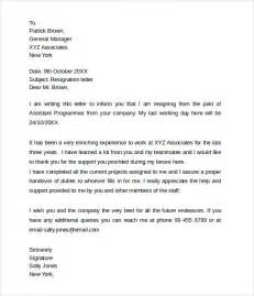 Resignation Letter Exles Two Week Notice by Sle Resignation Letters 2 Week Notice 8 Free Documents In Pdf Word