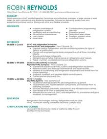 unforgettable hvac and refrigeration resume exles to