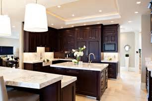 espresso kitchen cabinets medium brown cabinets with white quartz countertop google search kitchen pinterest white
