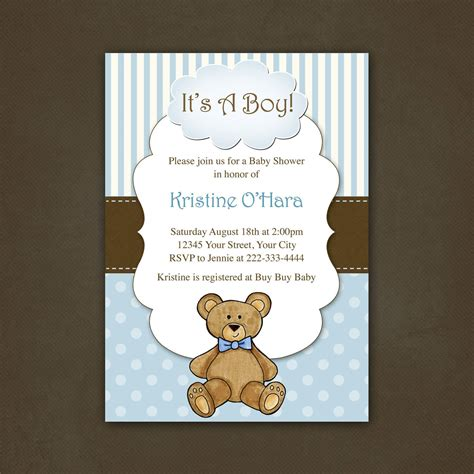 Boy Teddy Bear Baby Shower Invitation Printable File 12 00 Via Etsy Baby Shower Ideas Teddy Baby Shower Invitations Templates Free