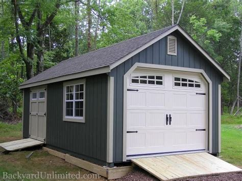 garden shed garage  transom double doors