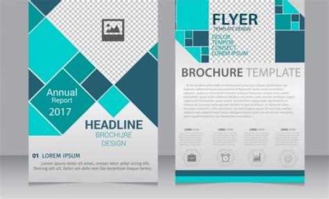 annual report brochure flyer template blue geometric