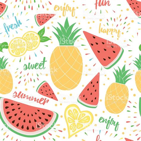 wallpaper cartoon fruit summer colorful fresh and sweet fruits background stock