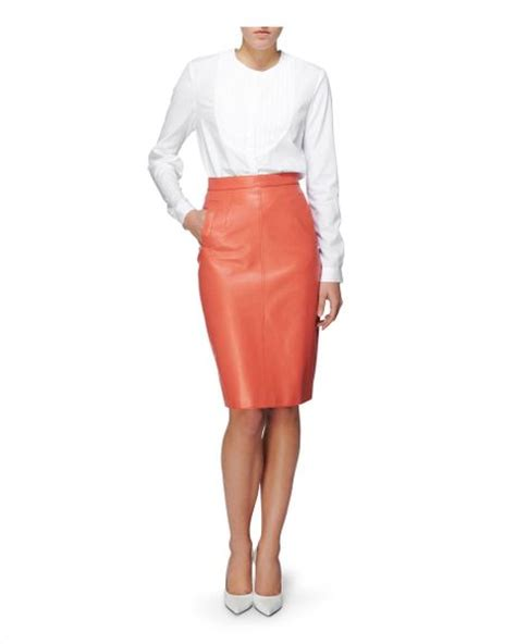 jaeger leather pencil skirt in pink lyst