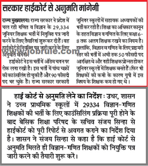 Appointment Letter Of Jrt Up 29334 Maths Science Teachers Recruitment Appointment Related News Paper Updates