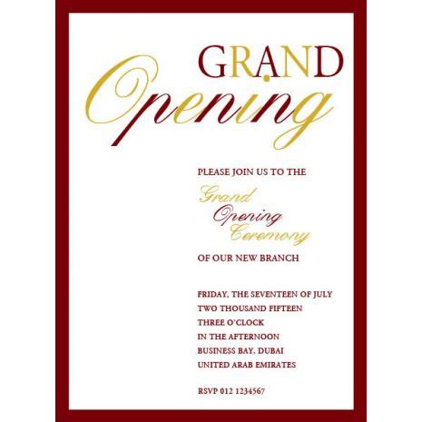 Inauguration Invitation Card Template by Greeting Cards Accessories Invitations Office