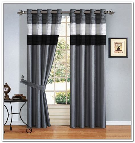 Fancy Drapes Black White And Grey Striped Curtains Curtain