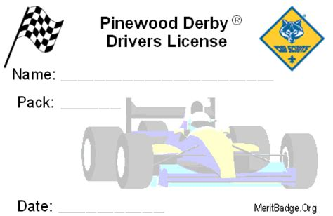 pinewood derby drivers license template pinewood derby meritbadgedotorg