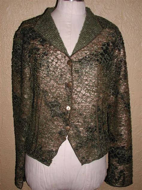 Treadle Design Room Jacket | treadle design room artsy gilded green light jacket sz m