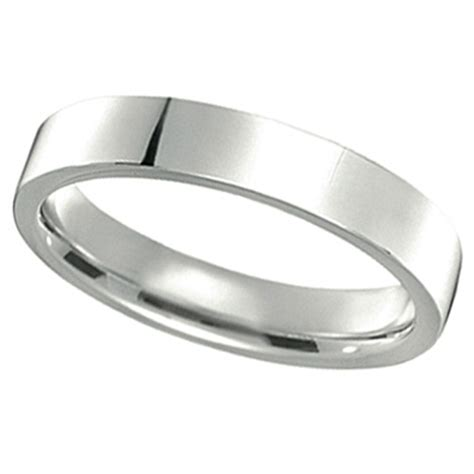 Flat Rin 760 by 14k White Gold Wedding Band Plain Ring Flat Comfort Fit 4