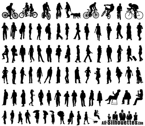 section five talks back vector silhouettes of people standing sitting walking