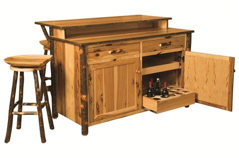 Unfinished Maple Kitchen Cabinets by Amish Rustic Hickory Bar Kitchen Island