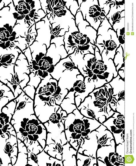 black and white rose pattern vector seamless black roses pattern stock vector image